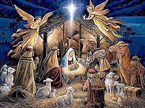 5D diamante pintura al óleo por kit de pintura digital diamante completo DIY manualidades artísticas adecuadas para la decoración de la pared del hogar Jesús nacimiento 40 × 30cm