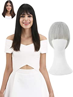REECHO Fashion Full Length Synthetic 1 Piece Layered Clip in Hair Bangs Fringe Hairpieces Hair Extensions Color - Silver Gray
