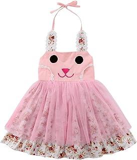 113271c26bc82 Kids Girl Cute Rabbit Ear Designed Floral Casual Halter Dress Tutu Princess  Dress