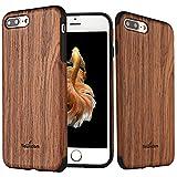 NeWisdom iPhone 7 Plus Wood Case, iPhone 8 Plus case Wood, Slim Soft Rubberized Wood Cover