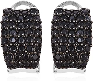 Omega Clip Hoops Hoop Earrings Round Black Cubic Zirconia CZ Dualtone Jewelry for Women Ct 4.9