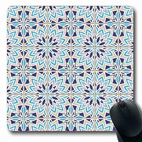 Mousepad Oblong Blue Antikes Muster basierend auf Mittelmeer auf traditionellem Pool Abstrakt Grau Azulejo Keramik Waschbecken Niederländische rutschfeste Gummi Mauspad Büro Computer Laptop Spielmatte