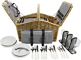 HappyPicnic 'Huntsman' Willow Picnic Hamper for 4 Persons with Double Lids and 'Built-in' Insulated Cooler, Natural Wicker Picnic Basket with Navy Canvas Stripe Lining, Willow Picnic Set(Navy Stripe)