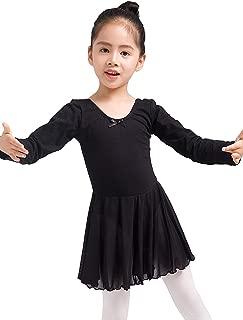Girls Skirted Leotard Ballet Dance Dress Long Sleeve Cotton Front Lined