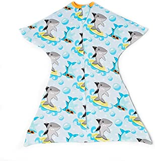 Surfing Sharks Swaddle Transition Zipadee-Zip, Small 4-8 Months (12-19 lbs, 25-29 inches)