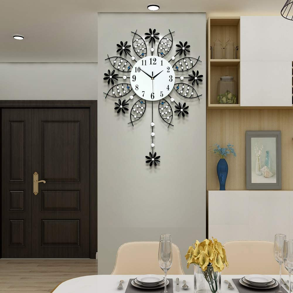 JTWALCLOCK Large Wall Clocks for Living Room Decor Giant Big Silent Modern Battery Operated Decorative Glass Pendulum Wall Clock for Kitchen Bedroom Oversized Non Ticking Crystal Wall Clock Indoor