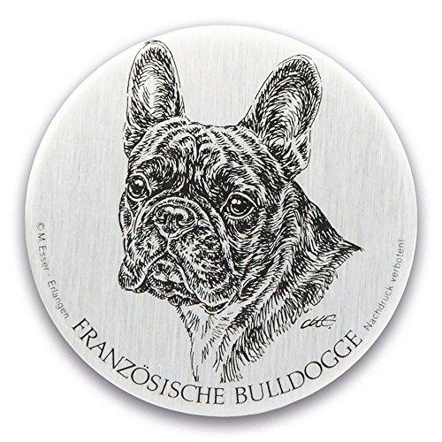 Schecker Esser Metallplakette,versiegelt - Französische Bulldogge -