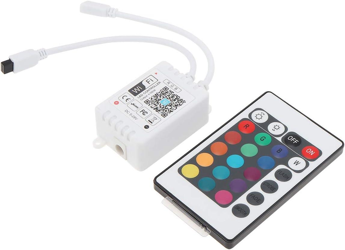RTNLIT WiFi LED Controller, Smart Wireless RGB LED Controller with 24Key IR Remote for LED Strip Lights, DC 5V-24V