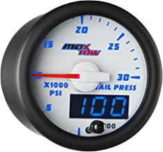 MaxTow Double Vision 30,000 PSI Fuel Rail Pressure Gauge - for 2002-2017 6.6L Chevy Duramax & 2003-2017 5.9L / 6.7L Dodge Cummins Diesel Trucks - White Gauge Face - Blue LED Dial - 2-1/16