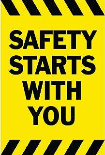 HALF PRICE BANNERS   Safety Starts with You Vinyl Banner-Indoor/Outdoor 3X2 Foot-Yellow   Includes Zip Ties   Easy Hang-Ma...