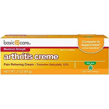 Basic Care Arthricream, Trolamine Salicylate 10%, Analgesic & Arthritis Pain Relief Cream, 3 Ounces
