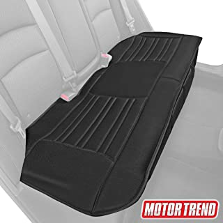 Motor Trend MTSC-421 Universal Car Seat Cushion (Bench) – Padded Luxury Cover with Non-Slip Bottom & Storage Pockets – Black Faux Leather Rear Chair Protector for Auto, Truck & SUV