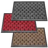 deco-mat Robuster Fußabtreter für Aussen • Türmatte rutschfest mit Gummi-Bürste • Schmutzfangmatte für Haustür • Fußmatte Grau • 45 x 75 cm