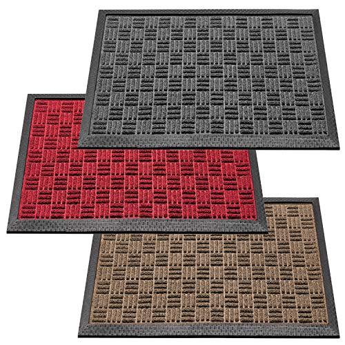 deco-mat Robuster Fußabtreter für Aussen • Türmatte rutschfest mit Gummi-Bürste • Schmutzfangmatte für Haustür • Fußmatte Grau • 40 x 60 cm
