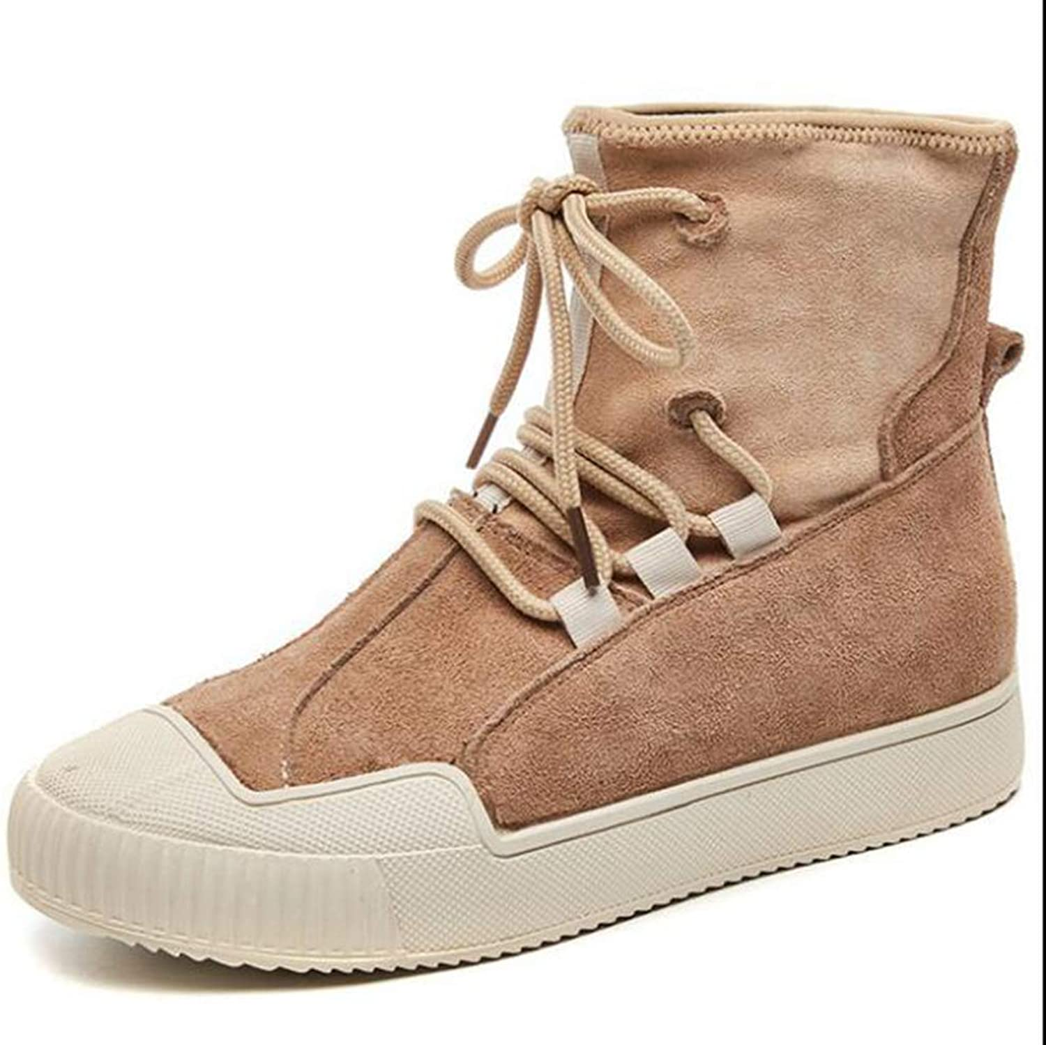 Hoxekle Sneakers Women Warming Boots Suede Outdoor Winter Lace Up Casual shoes Durable Female Ankle Boot Footwear