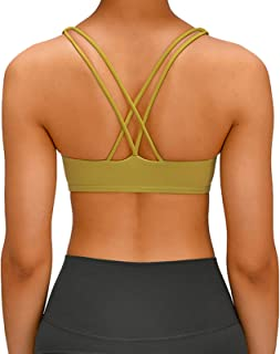 Women's Cross Back Yoga Sports Bras, Breathable Comfy Active Bras for Yoga Running Gym Exercise,Yellow,4