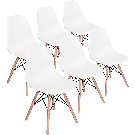 H.J WeDoo Lot de 6 Chaises de Salle à Manger, Chaises Scandinaves Design Bois Chaise en Polyéthylène pour Cuisine/Bureau/Bar(Blanc)