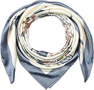 Large Square Silk Like Lightweight Scarfs Hair Sleeping Wraps for Women Gray Flowers Pattern by Corciova