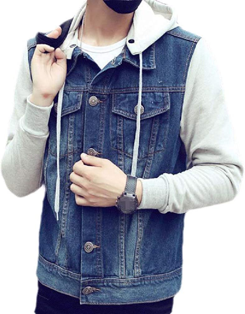 Men's Removable Hood Max 49% OFF Direct store Long Sleeve Stitching Button Fit De Slim Up