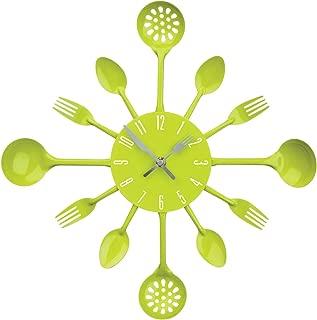 Premier Housewares Cutlery Wall Clock - Lime Green