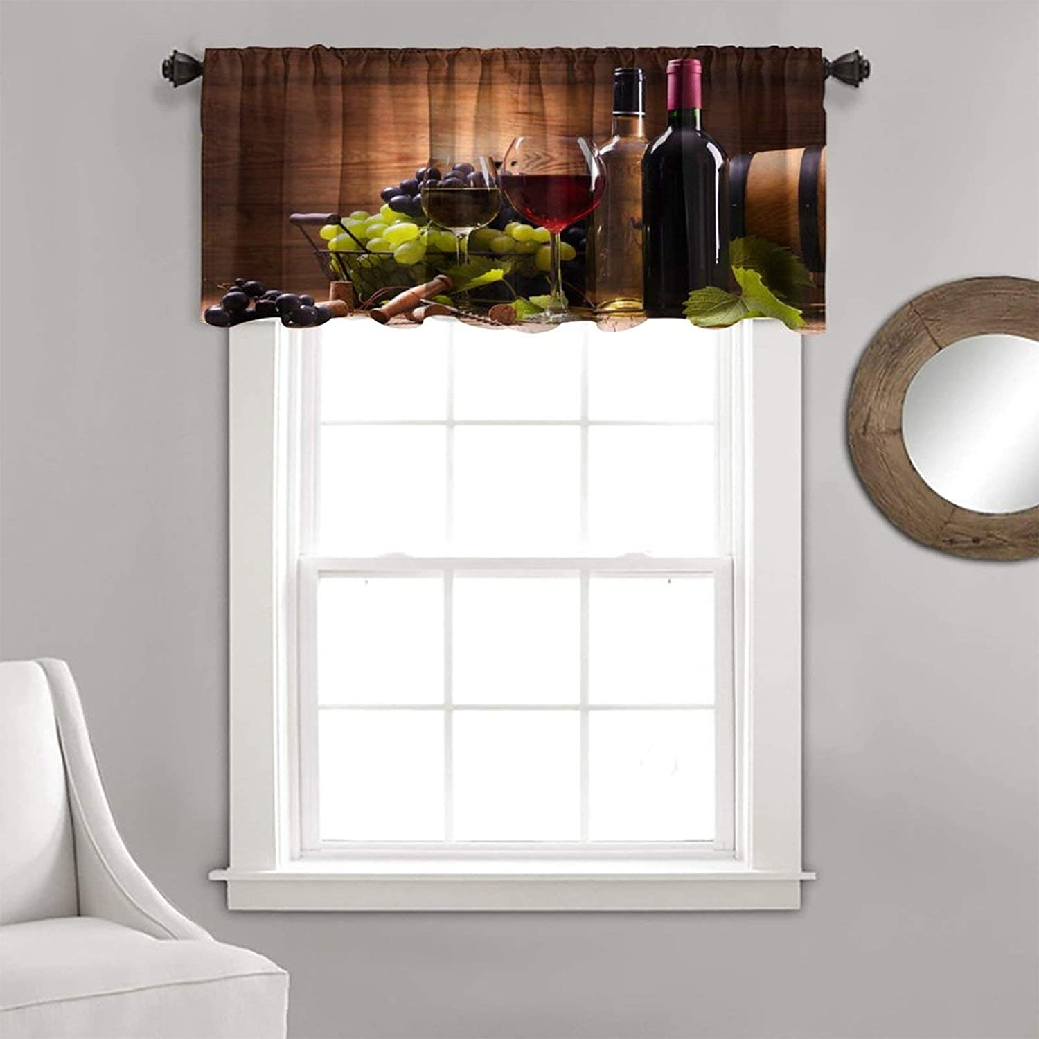 Kitchen Curtain Valance Special price Winery Decor Gl Red Bottles New popularity Wine Barrels