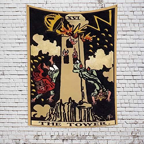 KHKJ India Bruja Tarot Carta astrología adivinación Hippie Mandala Tapiz psicodélico tapices de Pared decoración del hogar A23 95x73cm