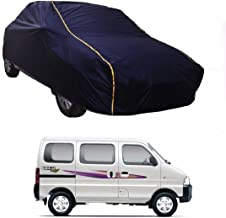 MotRoX Water Resistance Car Body Cover for Maruti Suzuki Eeco (Navy Blue-with Side Mirror Pockets and Yellow Piping)