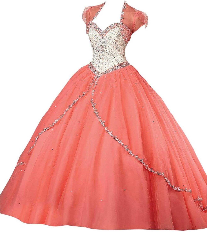 Dearta Women's ALine Sweetheart Sweep Train Quinceanera Dresses Coral US 8