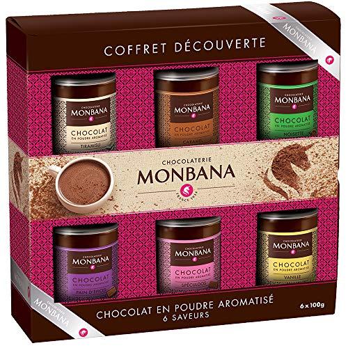 IDÉE CADEAU GOURMAND 6 CHOCOLATS EN POUDRE, coffret 6 chocolats en poudre MONBANA, 6*100 gr, Chocolat Vanille, Chocolat Caramel, Chocolat noisette,Chocolat pain d'épice, Chocolat Tiramisu et Spéculoos