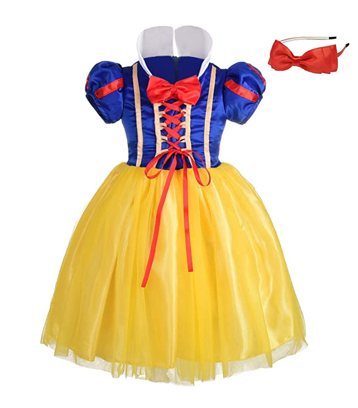 Lito Angels Girls' Princess Snow White Costume Fancy Dresses Up Halloween Outfit with Headband