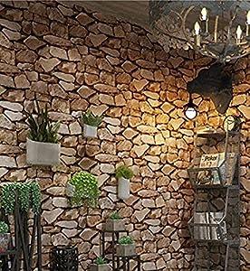 Papel Pintado de Piedra 3D - 950CM * 53CM - Diseño Retro Adecuado para Cocina Dormitorio Sala de Estar Pared de Fondo de TV Chico Chica