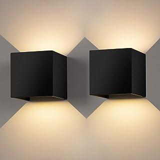 12W*2 Aplique Pared LED Interior/Exterior Blanco Cálido 3000K 1000lm Lamparas Pared Led IP65 Impermeable Led Lámpara Pared Negro