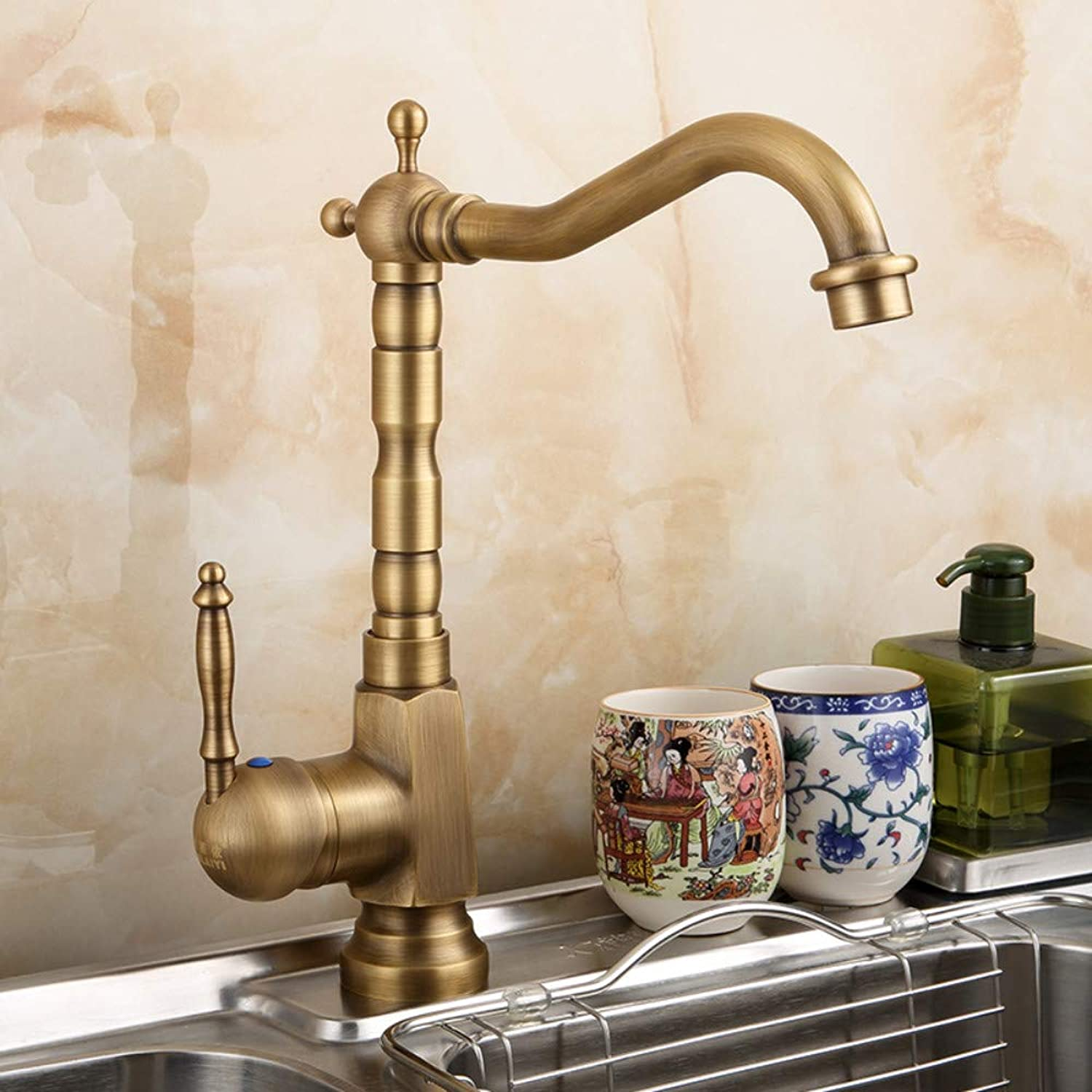 ROKTONG Kitchen Sink Taps Kitchen Sink Taps Kitchen Sink Taps,Retro Kitchen Faucet Sink Single Hole Single Handle Hot And Cold Creative Faucet