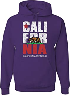 Tee Hunt California Republic Hoodie Cali Star CA Patriot Grizzly Bear Sweatshirt