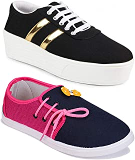 Shoefly Women Multicolour Latest Collection Sneakers Shoes- Pack of 2 (Combo-(2)-1044-11028)