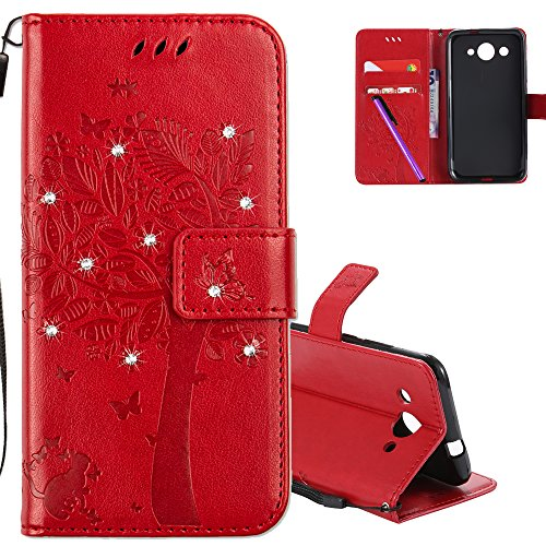 COTDINFOR Huawei Y3 2017 Hülle für Mädchen Elegant Retro Premium PU Lederhülle Handy Tasche mit Magnet Standfunktion Schutz Etui für Huawei Y3 2017 Red Wishing Tree with Diamond KT.