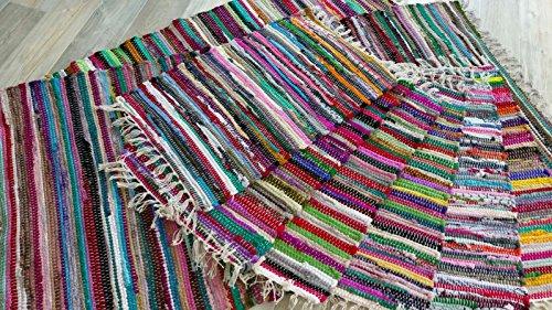 Fleckerl Handweb Teppich Kufstein Multicolor 40x60 60x120 70x140 90x160 130x200 170x240 90x250 90x340 200x300 cm (90x340)