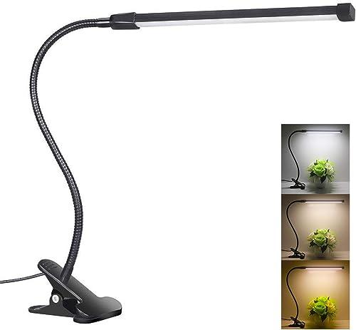 Desk Lamp Clamp|LED Reading Light Clip|Eye Care|3 Lighting Modes|10 Brightness|Flexible Gooseneck Mental|8W|USB Power...