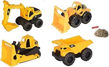 Tough Tracks Caterpillar CAT Construction Set Includes Loader, Dump Truck, Excavator, & Bulldozer (4 Pack) with Bonus Kinetic Play Sand