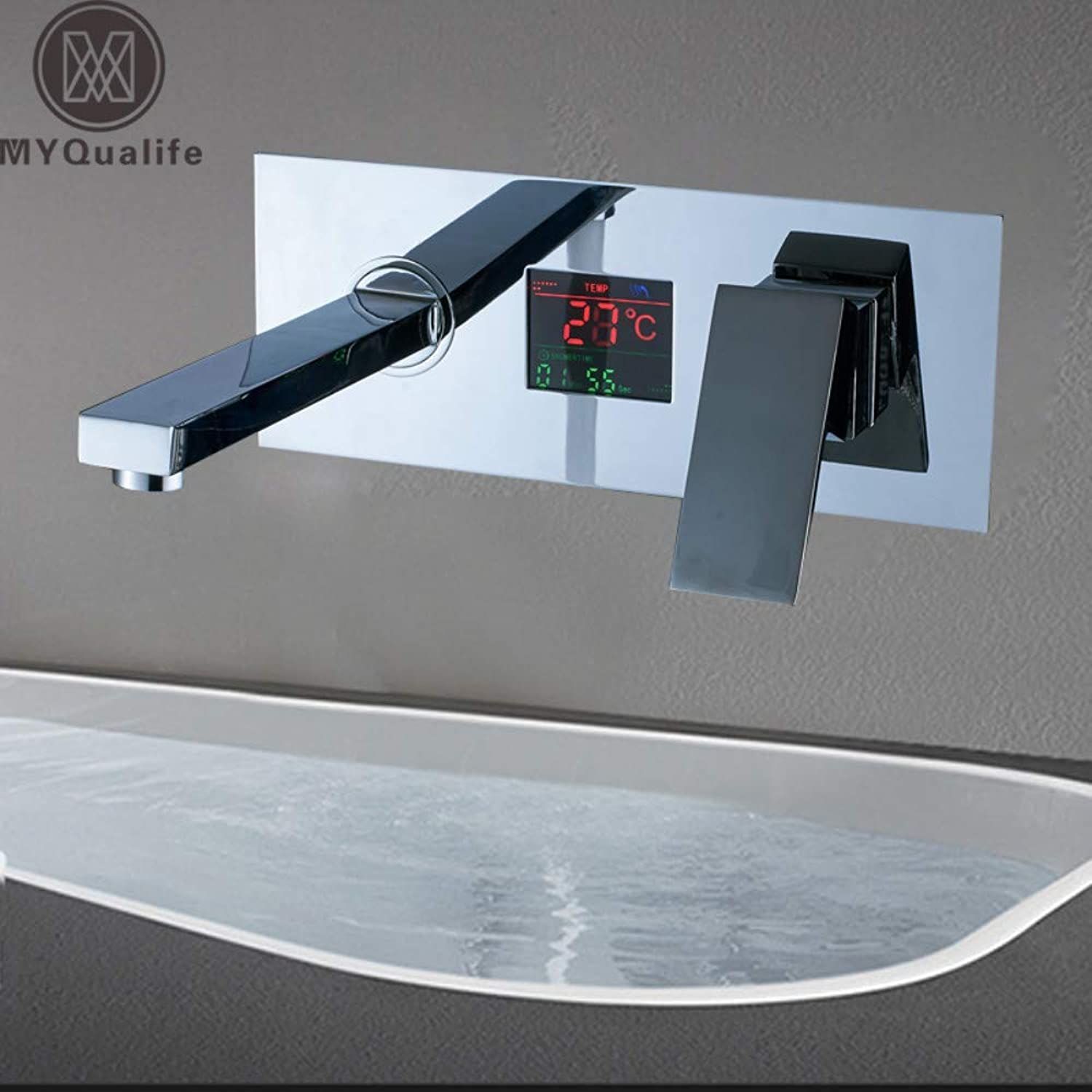 CZOOR Chrome Digital Display Basin Sink Faucet Wall Mounted Bathroom Vessel Sink Mixer Tap with Embedded Box Hot and Cold Taps