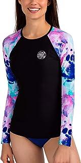 AXESEA Womens Rash Guard Long Sleeve Swim Shirt UPF 50+ Swimsuit Athletic Top