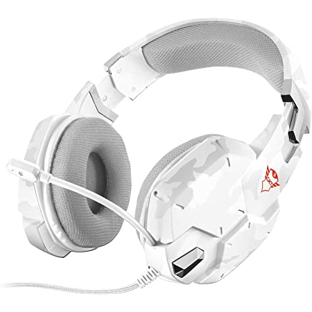 Trust Cuffie Gaming GXT 322W Carus con Microfono Flessibile, 3.5 mm Jack, Filo, Over Ear, PC, PS4, PS5, Xbox Series X, Xbox One, Switch, Bianco Mimetico