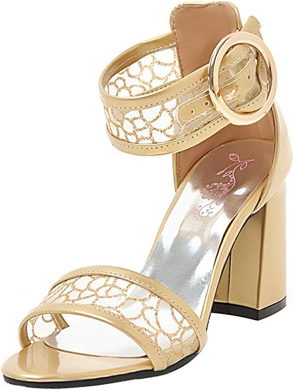 Ghssheh Women's Fashion Buckle Ankle Strap Gauze Splicing Open Toe Block High Heels Sandals shoes gold 5 M US