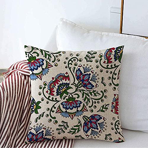 Farmhouse Funda de Almohada Cuadrada Decorativa Funda de Almohada Oriental Folk Unique Vintage Marroquí Floral Diseño Indio Verde Mano Deja Remolino Color Funda de cojín de Color para sofá D