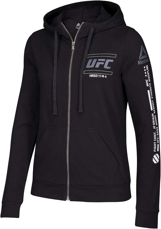 Reebok UFC Women's Black Fan Gear Full-Zip Hoodie CG0657