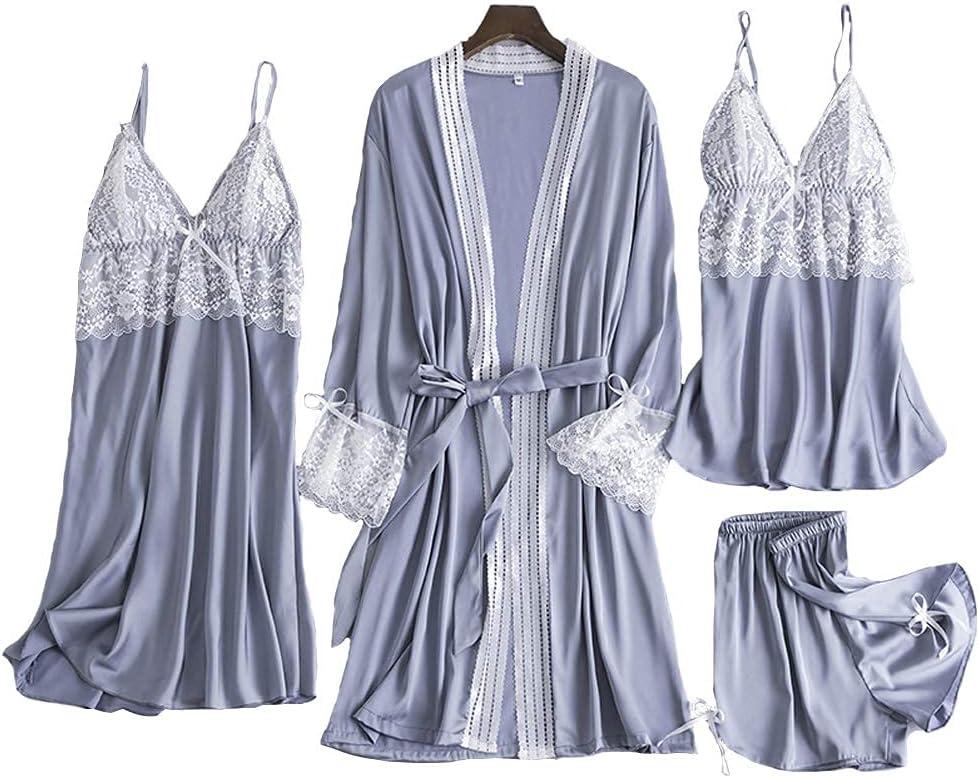 FMOGG Women's Satin Pajamas 4 Pcs ,Cami + Shorts + Nightgow