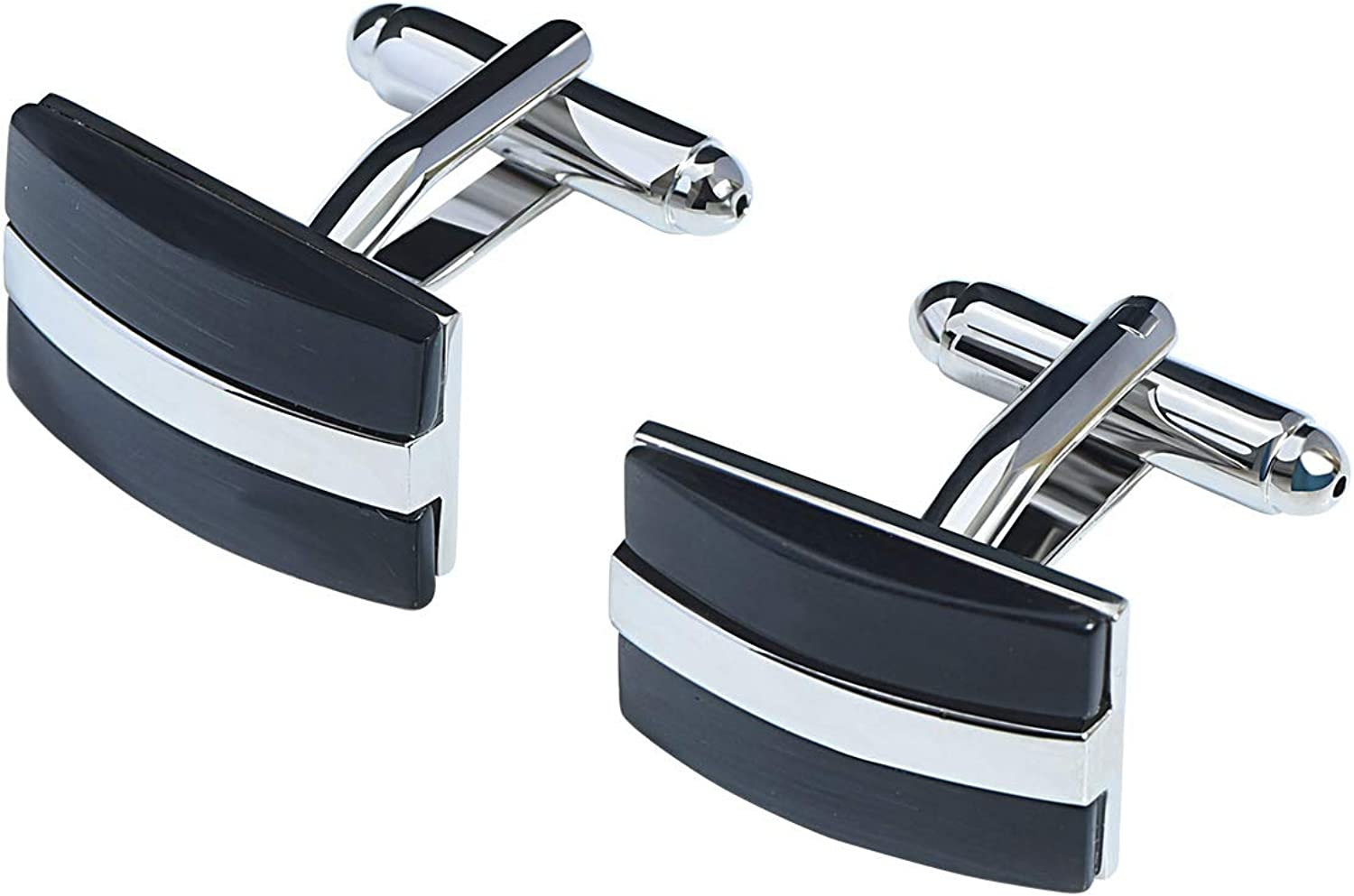 VVCome Men's Classic Genuine Onyx Stone and Mother of Pearl Cufflinks French Cufflink Cuff Links Business Wedding