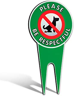 No Poop Dog Signs | Stop Dogs from Pooping On Your Lawn | Sign Politely Reads:Please Be Respectful | Protect Your Propert...