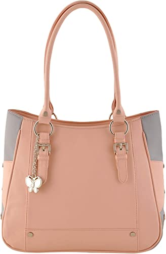 Butterflies Women's Handbag (Peach,Grey) (BNS 0546 PCH)