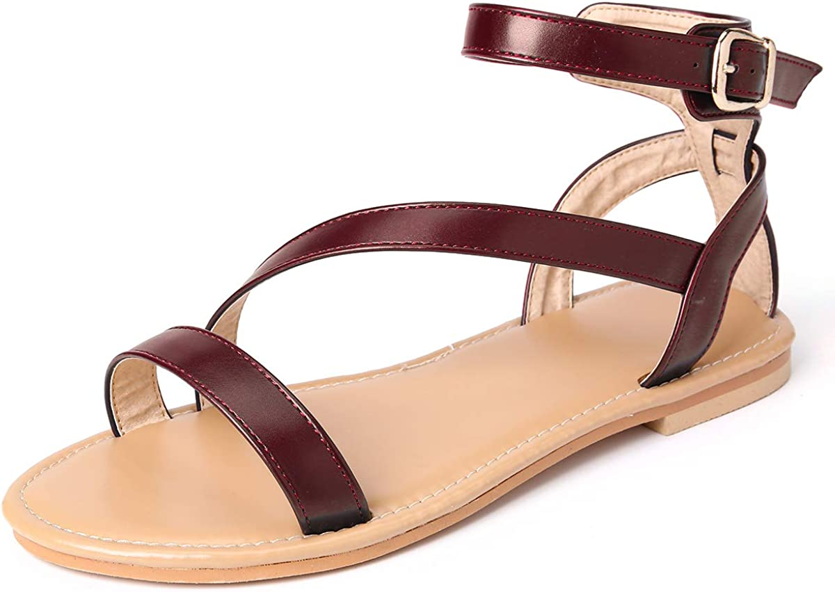 gracosy Flat Sandals for Women, Summer Flat Sandals Comfort Beach Shoes Slip On Dress Sandals Ankle Straps Slippers Anti-Slip Flip Flop Thong
